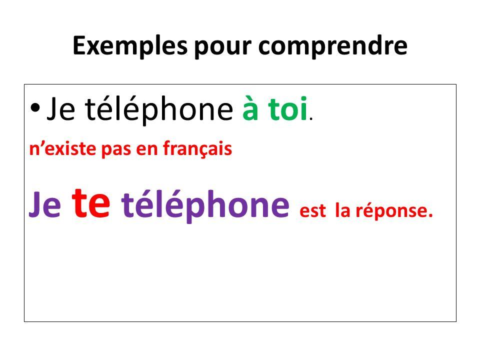 Exemples pour comprendre Je téléphone à toi. nexiste pas en français Je te téléphone est la réponse.