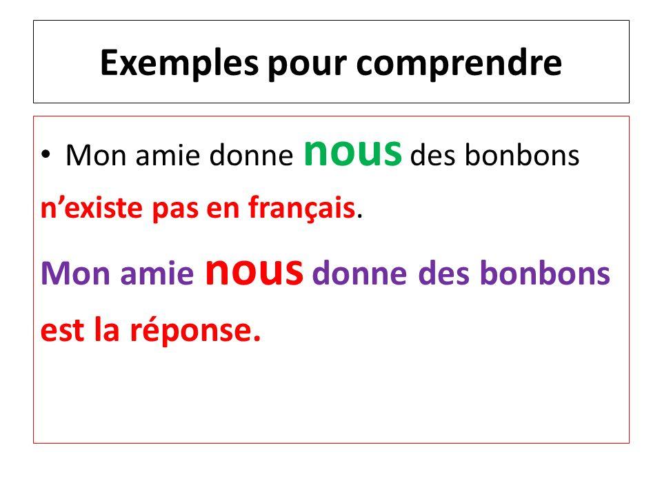 Exemples pour comprendre Mon amie donne nous des bonbons nexiste pas en français. Mon amie nous donne des bonbons est la réponse.