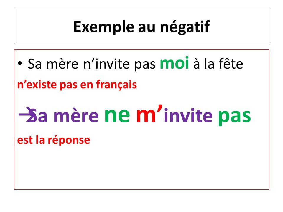 Exemple au passé composé Jai vu toi nexiste pas en français. Je tai vu. est la bonne réponse.