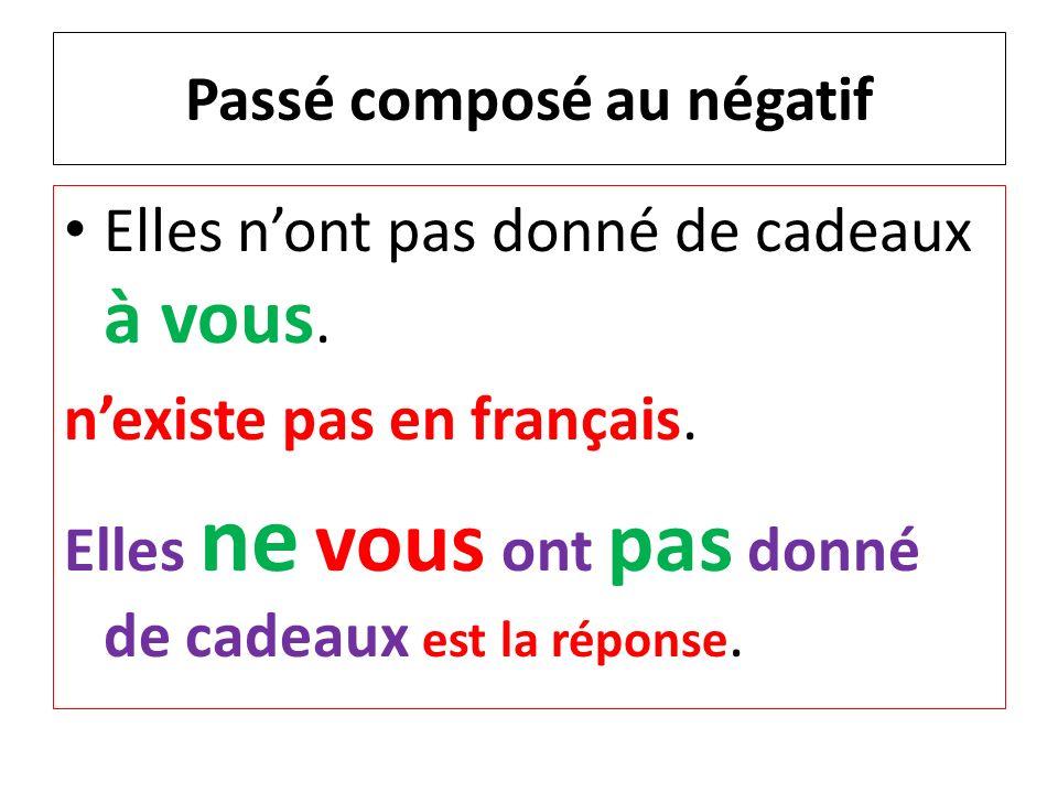 Passé composé au négatif Elles nont pas donné de cadeaux à vous. nexiste pas en français. Elles ne vous ont pas donné de cadeaux est la réponse.