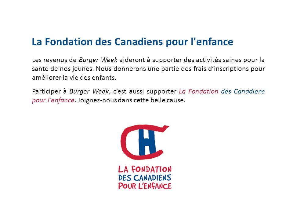 La Fondation des Canadiens pour l enfance Les revenus de Burger Week aideront à supporter des activités saines pour la santé de nos jeunes.