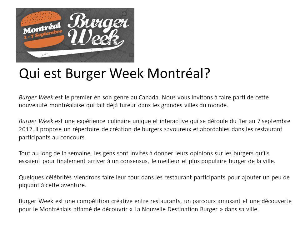 Qui est Burger Week Montréal? Burger Week est le premier en son genre au Canada. Nous vous invitons à faire parti de cette nouveauté montréalaise qui