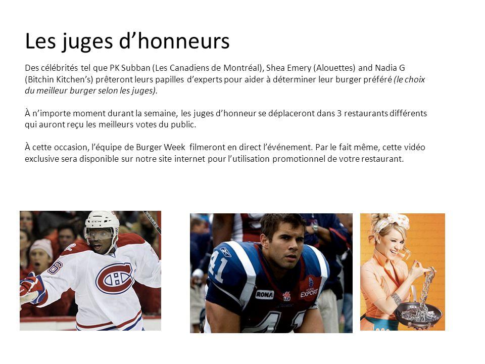 Les juges dhonneurs Des célébrités tel que PK Subban (Les Canadiens de Montréal), Shea Emery (Alouettes) and Nadia G (Bitchin Kitchens) prêteront leur