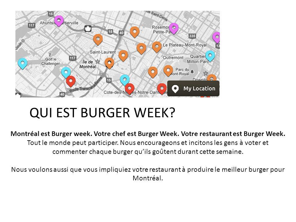 QUI EST BURGER WEEK? Montréal est Burger week. Votre chef est Burger Week. Votre restaurant est Burger Week. Tout le monde peut participer. Nous encou