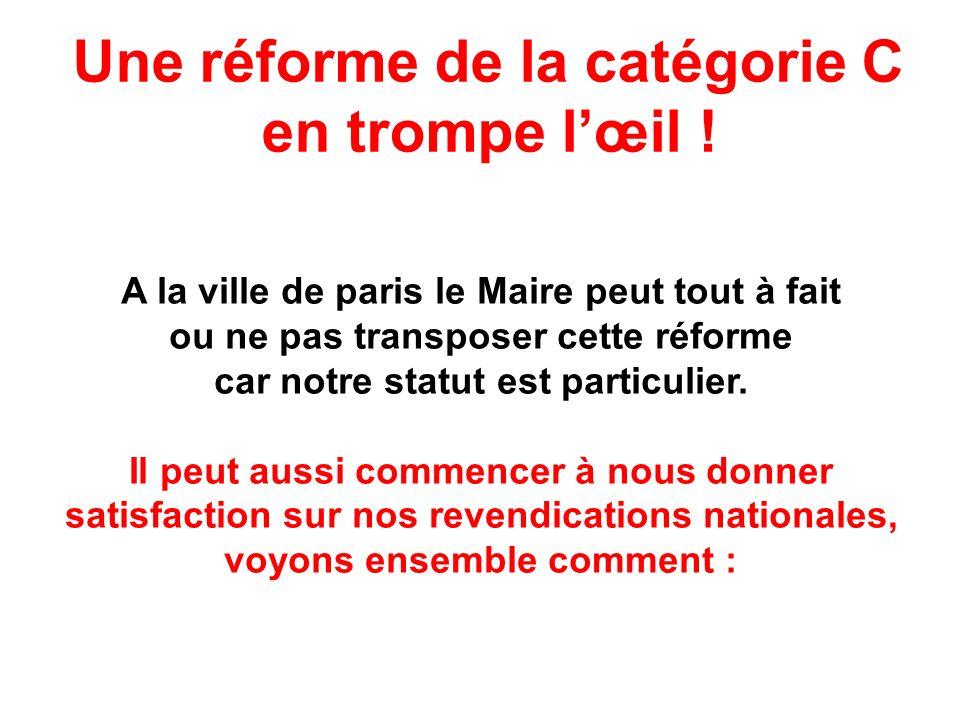 Une réforme de la catégorie C en trompe lœil ! A la ville de paris le Maire peut tout à fait ou ne pas transposer cette réforme car notre statut est p