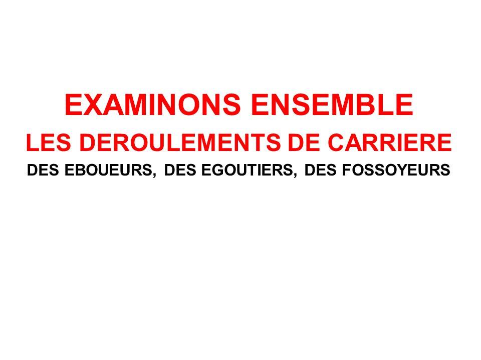 EXAMINONS ENSEMBLE LES DEROULEMENTS DE CARRIERE DES EBOUEURS, DES EGOUTIERS, DES FOSSOYEURS