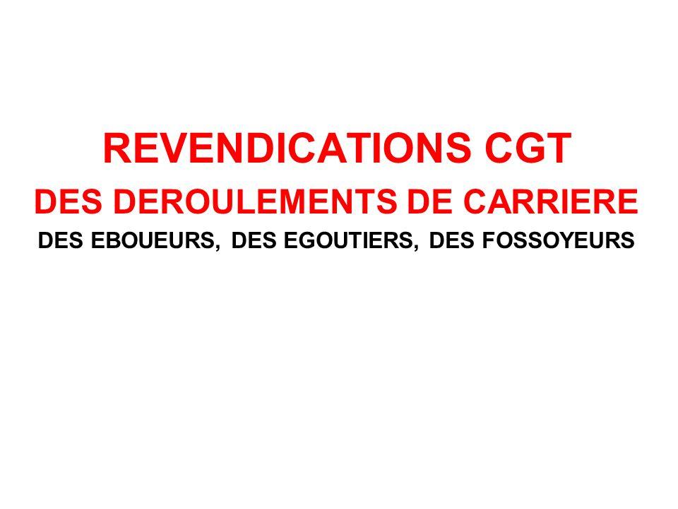REVENDICATIONS CGT DES DEROULEMENTS DE CARRIERE DES EBOUEURS, DES EGOUTIERS, DES FOSSOYEURS