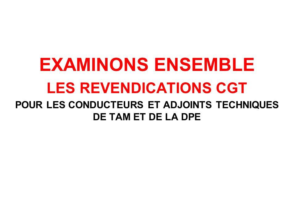 EXAMINONS ENSEMBLE LES REVENDICATIONS CGT POUR LES CONDUCTEURS ET ADJOINTS TECHNIQUES DE TAM ET DE LA DPE