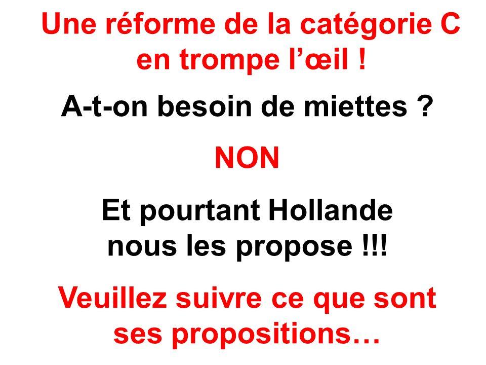 Une réforme de la catégorie C en trompe lœil ! A-t-on besoin de miettes ? NON Et pourtant Hollande nous les propose !!! Veuillez suivre ce que sont se