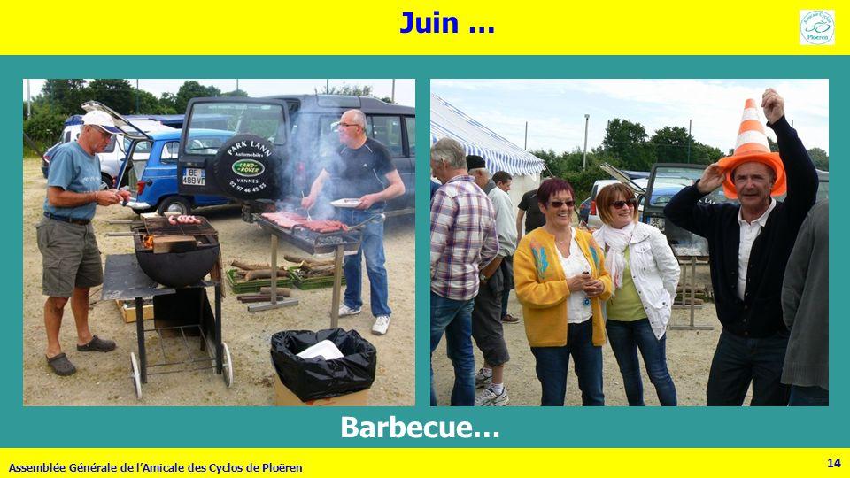 14 Assemblée Générale de lAmicale des Cyclos de Ploëren Juin … 14 Barbecue…