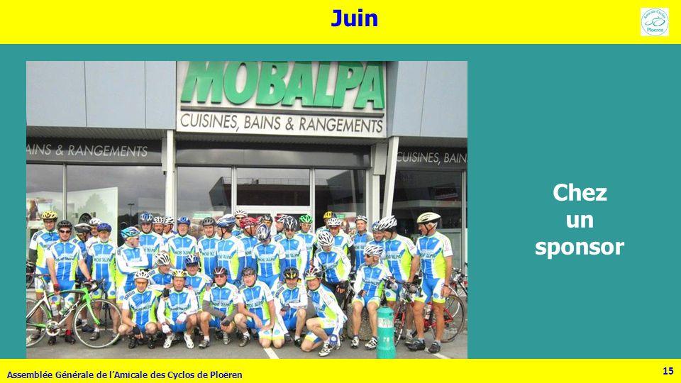15 Assemblée Générale de lAmicale des Cyclos de Ploëren 15 Juin Chez un sponsor
