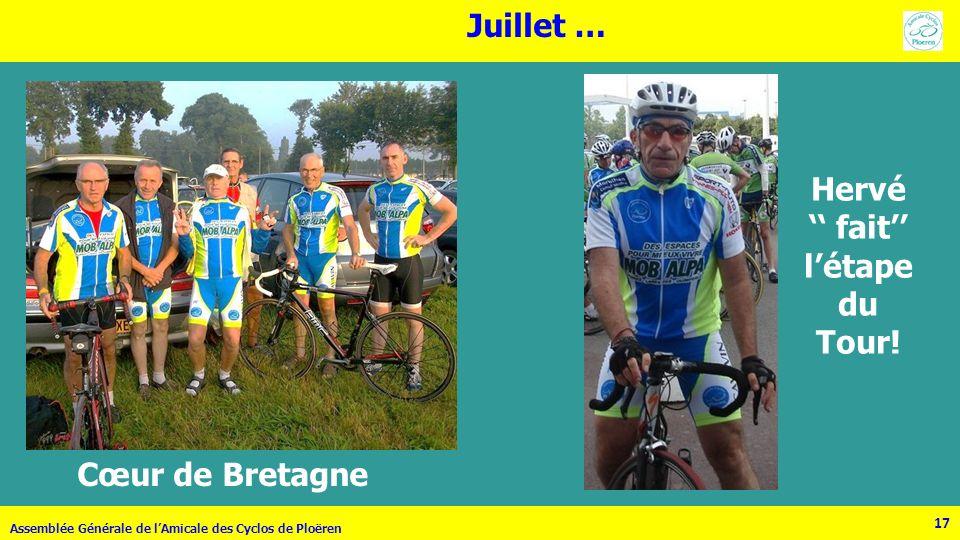 17 Assemblée Générale de lAmicale des Cyclos de Ploëren 17 Juillet … Cœur de Bretagne Hervé fait létape du Tour!