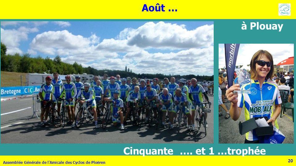 20 Assemblée Générale de lAmicale des Cyclos de Ploëren 20 Août … à Plouay Cinquante …. et 1 …trophée