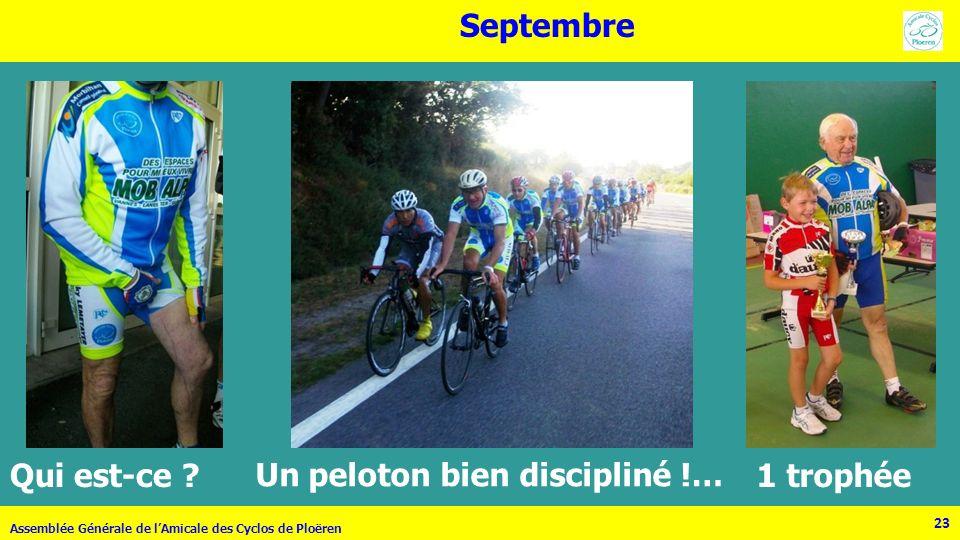 23 Assemblée Générale de lAmicale des Cyclos de Ploëren 23 Septembre Qui est-ce ? Un peloton bien discipliné !… 1 trophée