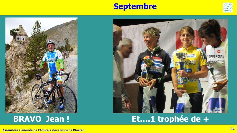 24 Assemblée Générale de lAmicale des Cyclos de Ploëren 24 Septembre BRAVO Jean ! Et….1 trophée de +