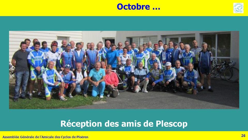 26 Assemblée Générale de lAmicale des Cyclos de Ploëren 26 Réception des amis de Plescop Octobre …