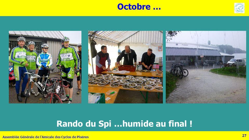 27 Assemblée Générale de lAmicale des Cyclos de Ploëren 27 Rando du Spi …humide au final ! Octobre …