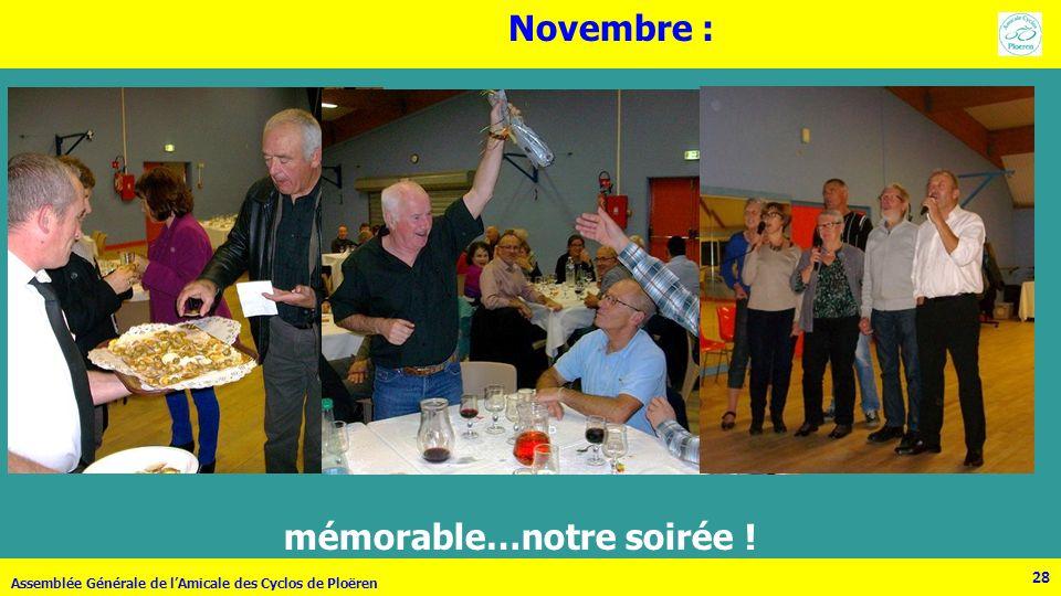 28 Assemblée Générale de lAmicale des Cyclos de Ploëren 28 Novembre : mémorable…notre soirée !