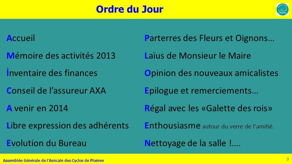 24 Assemblée Générale de lAmicale des Cyclos de Ploëren 24 Septembre BRAVO Jean .