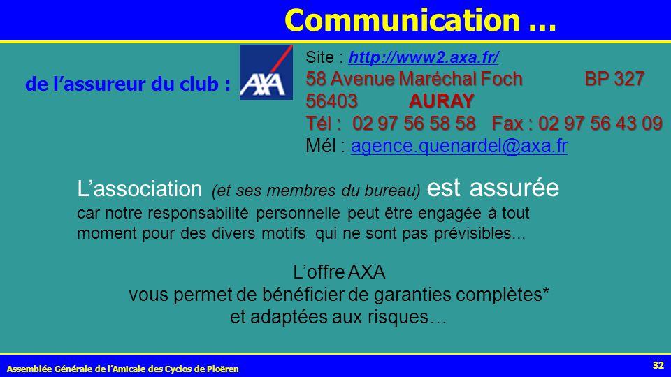 32 Communication … Assemblée Générale de lAmicale des Cyclos de Ploëren de lassureur du club : Site : http://www2.axa.fr/http://www2.axa.fr/ 58 Avenue