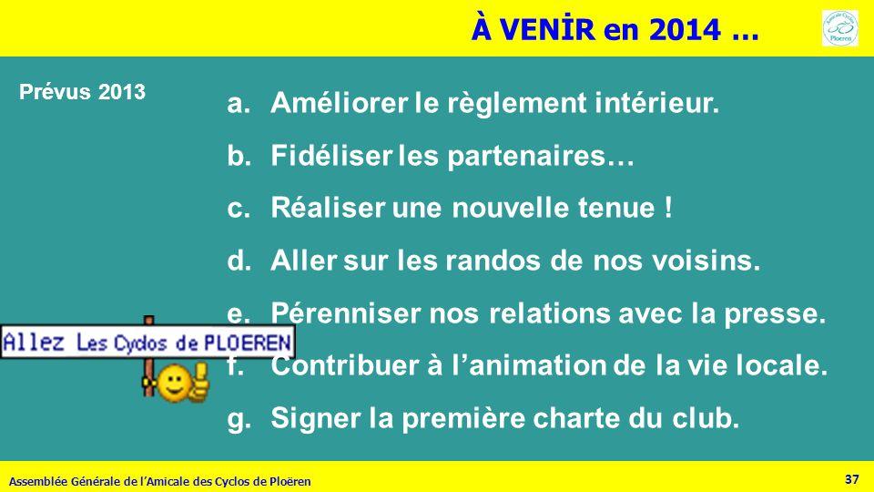 37 Assemblée Générale de lAmicale des Cyclos de Ploëren a.Améliorer le règlement intérieur. b.Fidéliser les partenaires… c.Réaliser une nouvelle tenue