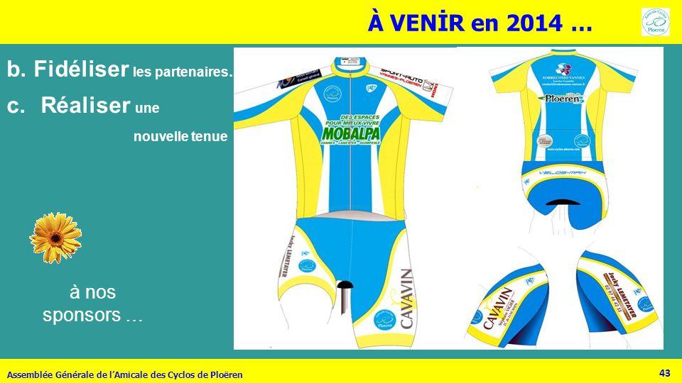 43 Assemblée Générale de lAmicale des Cyclos de Ploëren b.Fidéliser les partenaires… à nos sponsors … À VENİR en 2014 … c.Réaliser une nouvelle tenue