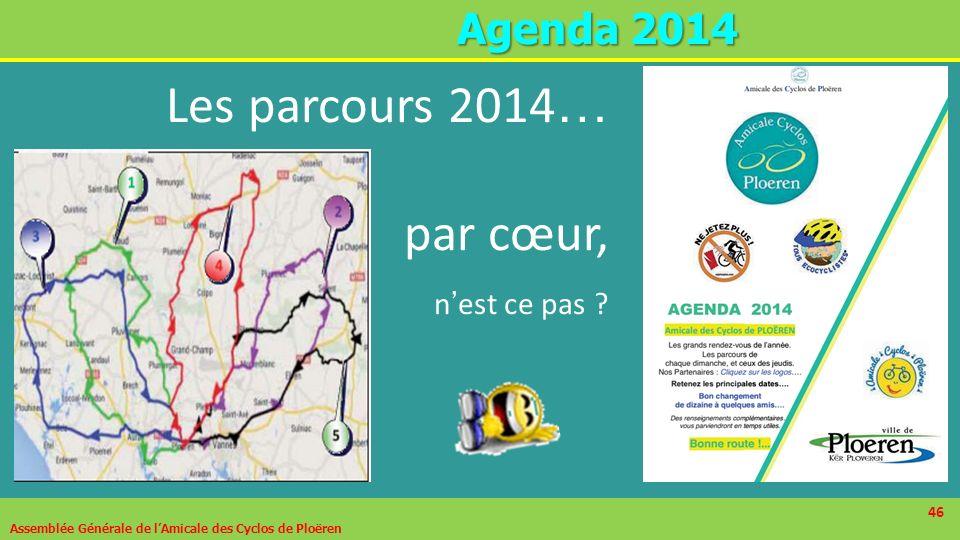 46 A genda 2014 Assemblée Générale de lAmicale des Cyclos de Ploëren 46 Les parcours 2014 … par cœur, n est ce pas ?