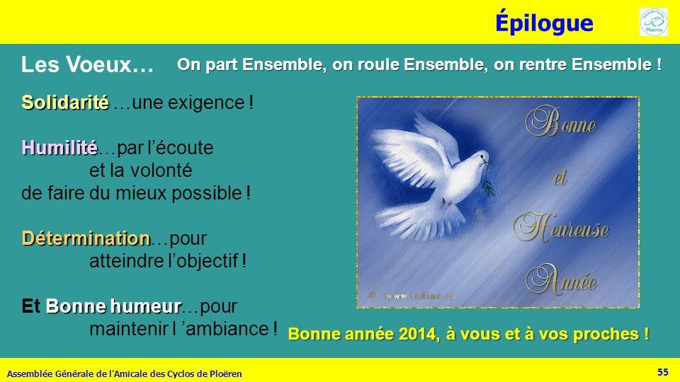 55 Épilogue 55 Assemblée Générale de lAmicale des Cyclos de Ploëren Les Voeux… Solidarité Solidarité …une exigence ! Humilité Humilité…par lécoute et