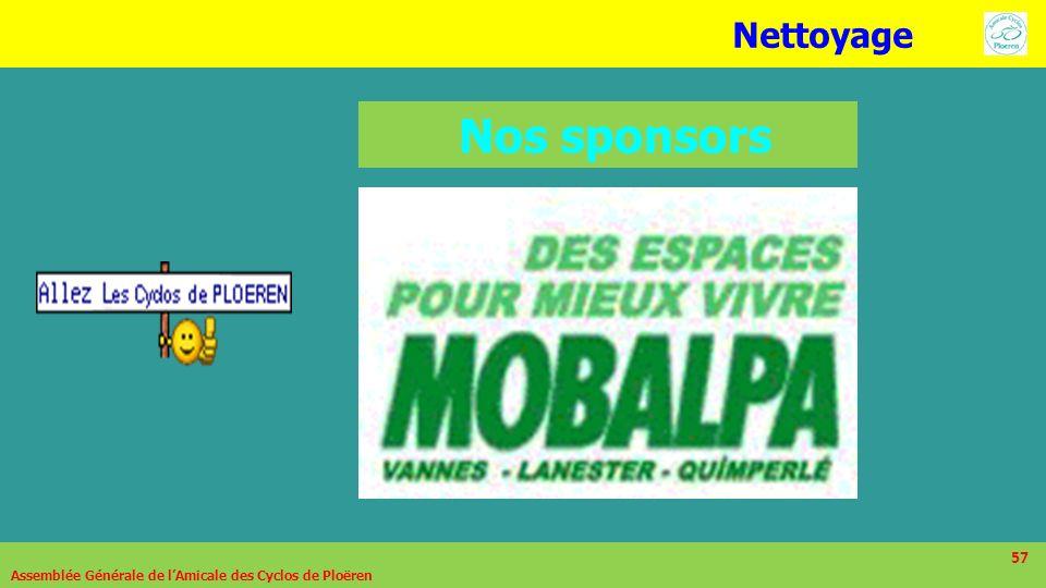 57 Nos sponsors Assemblée Générale de lAmicale des Cyclos de Ploëren 57 Nettoyage