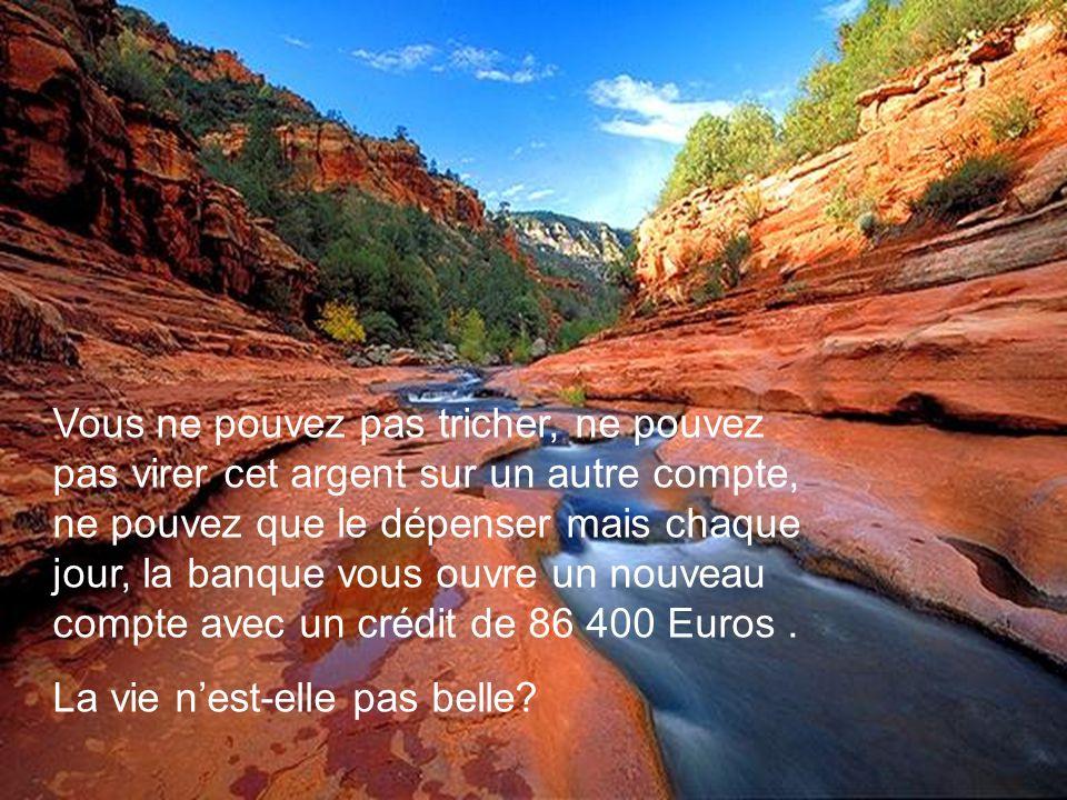 Vous ne pouvez pas tricher, ne pouvez pas virer cet argent sur un autre compte, ne pouvez que le dépenser mais chaque jour, la banque vous ouvre un nouveau compte avec un crédit de 86 400 Euros.