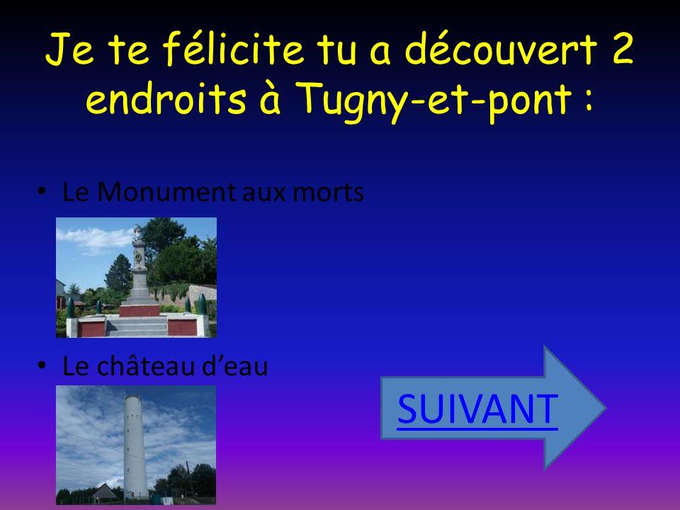 Je te félicite tu a découvert 2 endroits à Tugny-et-pont : Le Monument aux morts Le château deau SUIVANT