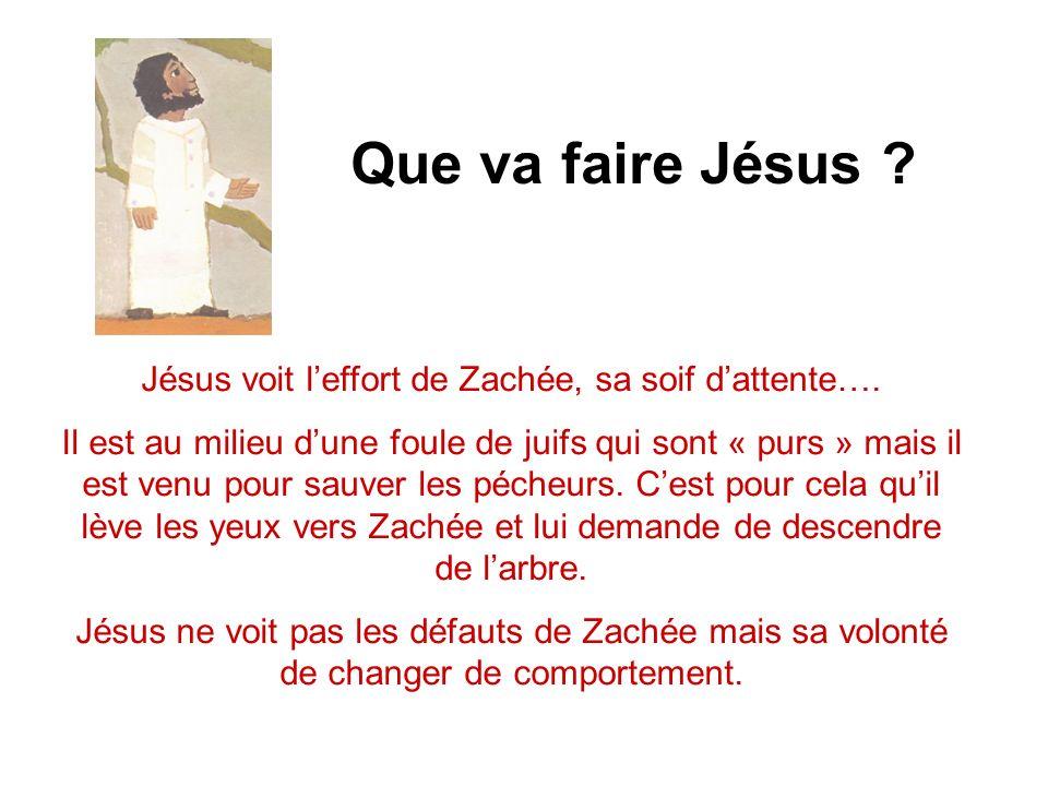 Que va faire Jésus .Jésus voit leffort de Zachée, sa soif dattente….