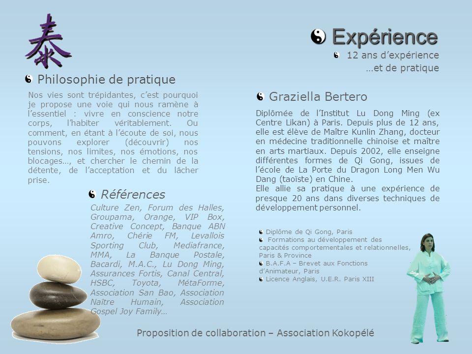 Proposition de collaboration – Association Kokopélé Expérience Expérience 12 ans dexpérience …et de pratique Culture Zen, Forum des Halles, Groupama,