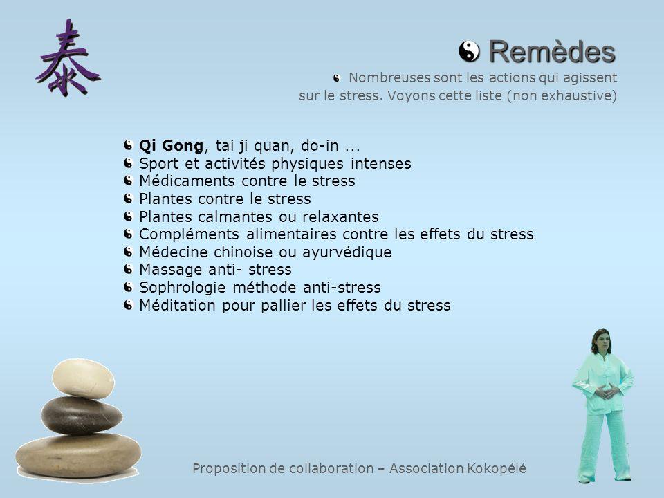Proposition de collaboration – Association Kokopélé Remèdes Remèdes Nombreuses sont les actions qui agissent sur le stress. Voyons cette liste (non ex