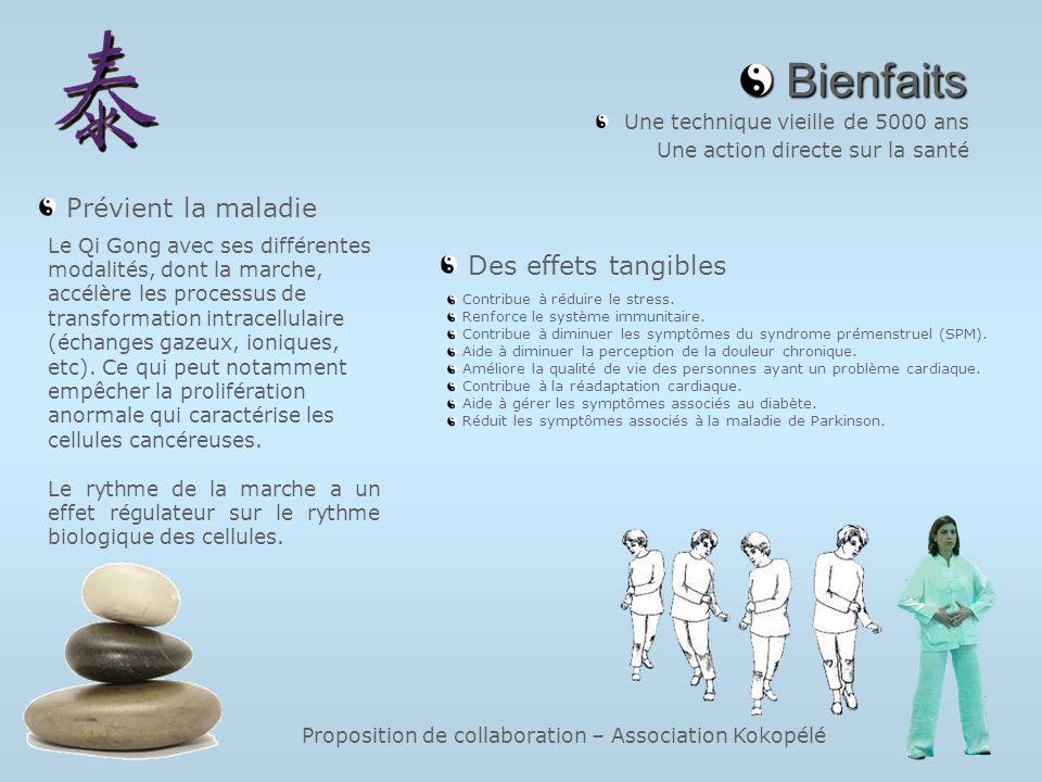 Proposition de collaboration – Association Kokopélé Bienfaits Bienfaits Une technique vieille de 5000 ans Une action directe sur la santé Le Qi Gong a