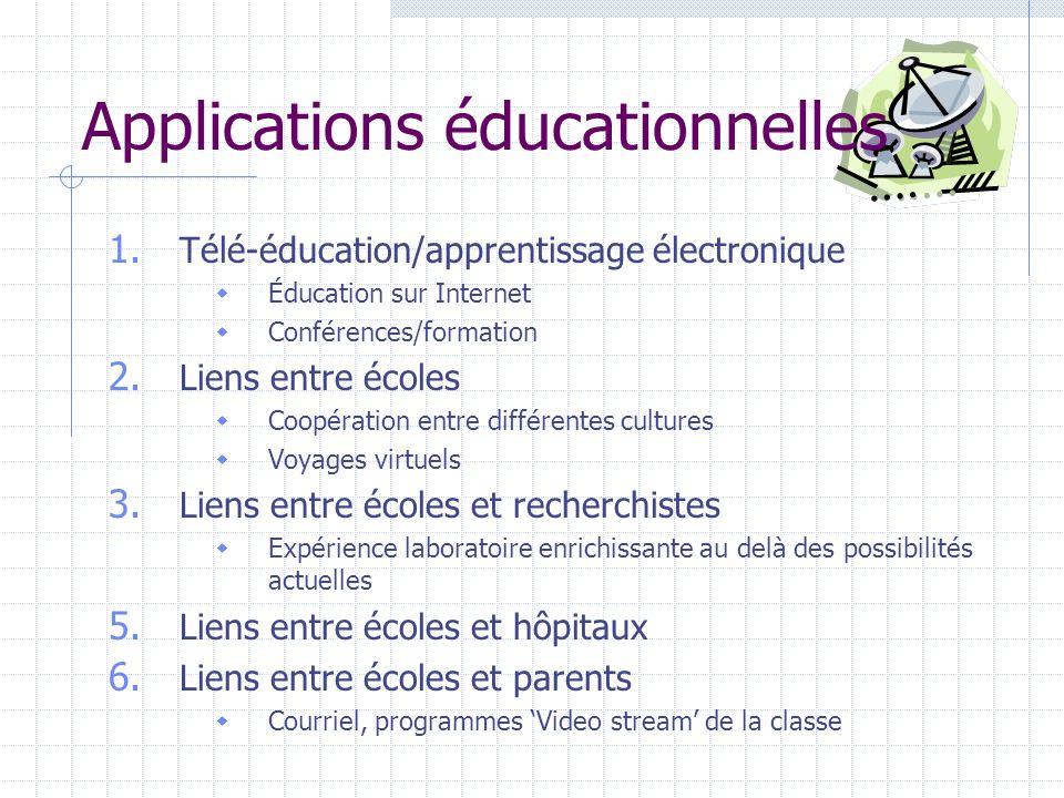 Applications éducationnelles 1. Télé-éducation/apprentissage électronique Éducation sur Internet Conférences/formation 2. Liens entre écoles Coopérati