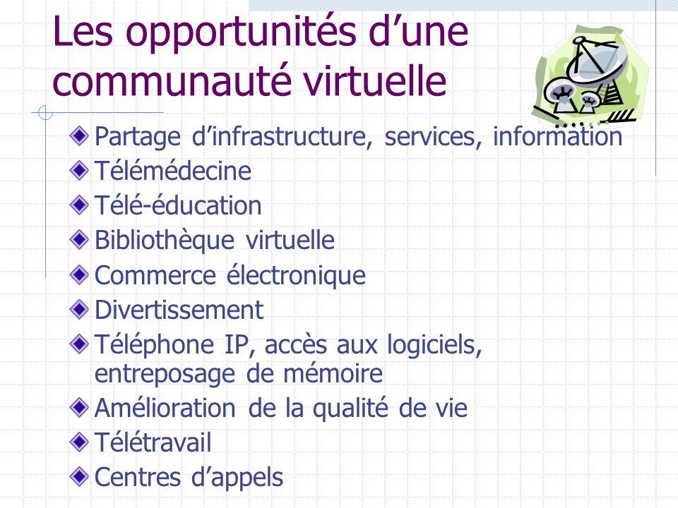 Les opportunités dune communauté virtuelle Partage dinfrastructure, services, information Télémédecine Télé-éducation Bibliothèque virtuelle Commerce électronique Divertissement Téléphone IP, accès aux logiciels, entreposage de mémoire Amélioration de la qualité de vie Télétravail Centres dappels