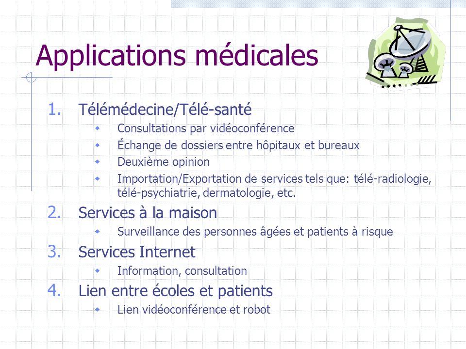 Applications médicales 1. Télémédecine/Télé-santé Consultations par vidéoconférence Échange de dossiers entre hôpitaux et bureaux Deuxième opinion Imp