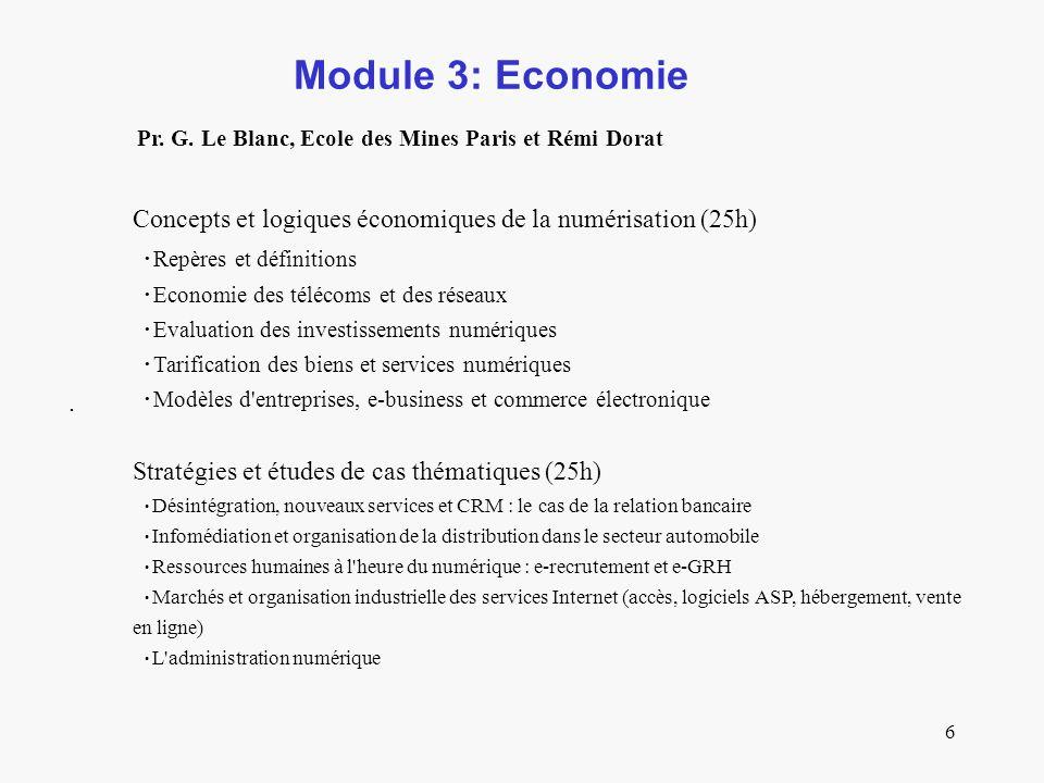 6 Module 3: Economie. Pr. G.