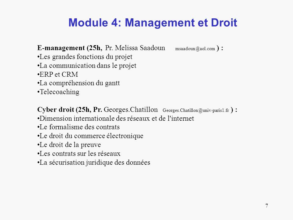 7 Module 4: Management et Droit E-management (25h, Pr.
