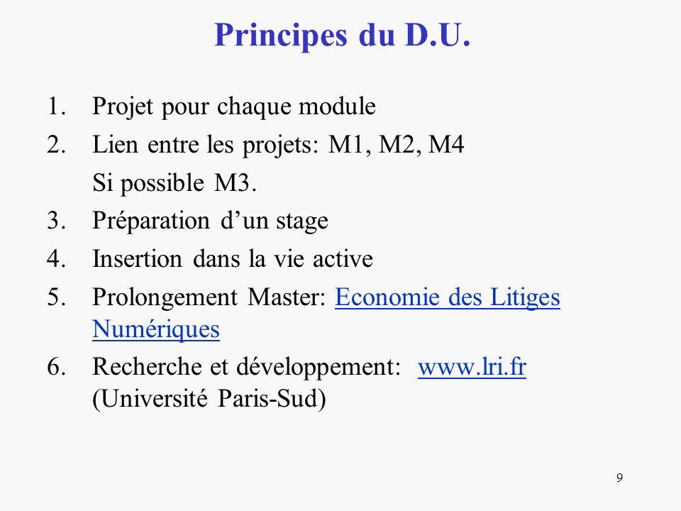 9 1.Projet pour chaque module 2.Lien entre les projets: M1, M2, M4 Si possible M3.