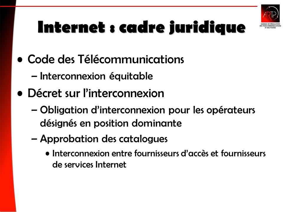 Internet : cadre juridique Code des Télécommunications –Interconnexion équitable Décret sur linterconnexion –Obligation dinterconnexion pour les opérateurs désignés en position dominante –Approbation des catalogues Interconnexion entre fournisseurs daccès et fournisseurs de services Internet