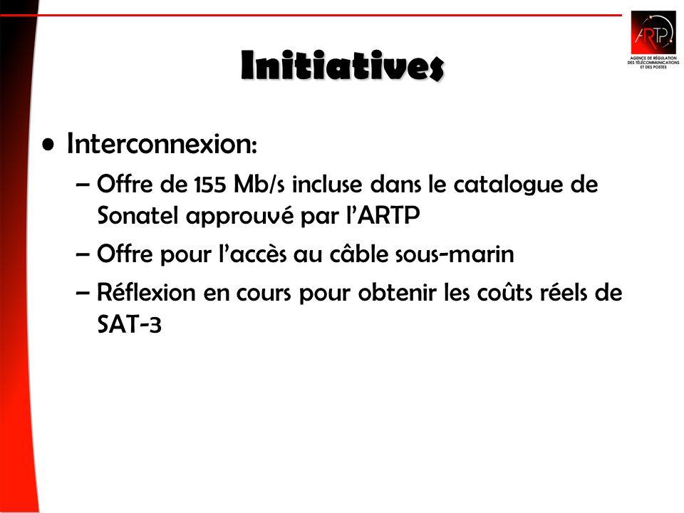 Initiatives Interconnexion: –Offre de 155 Mb/s incluse dans le catalogue de Sonatel approuvé par lARTP –Offre pour laccès au câble sous-marin –Réflexion en cours pour obtenir les coûts réels de SAT-3