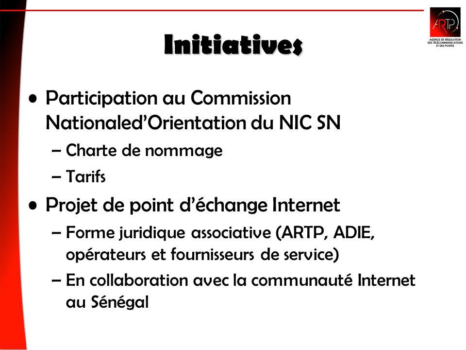 Initiatives Participation au Commission NationaledOrientation du NIC SN –Charte de nommage –Tarifs Projet de point déchange Internet –Forme juridique associative (ARTP, ADIE, opérateurs et fournisseurs de service) –En collaboration avec la communauté Internet au Sénégal