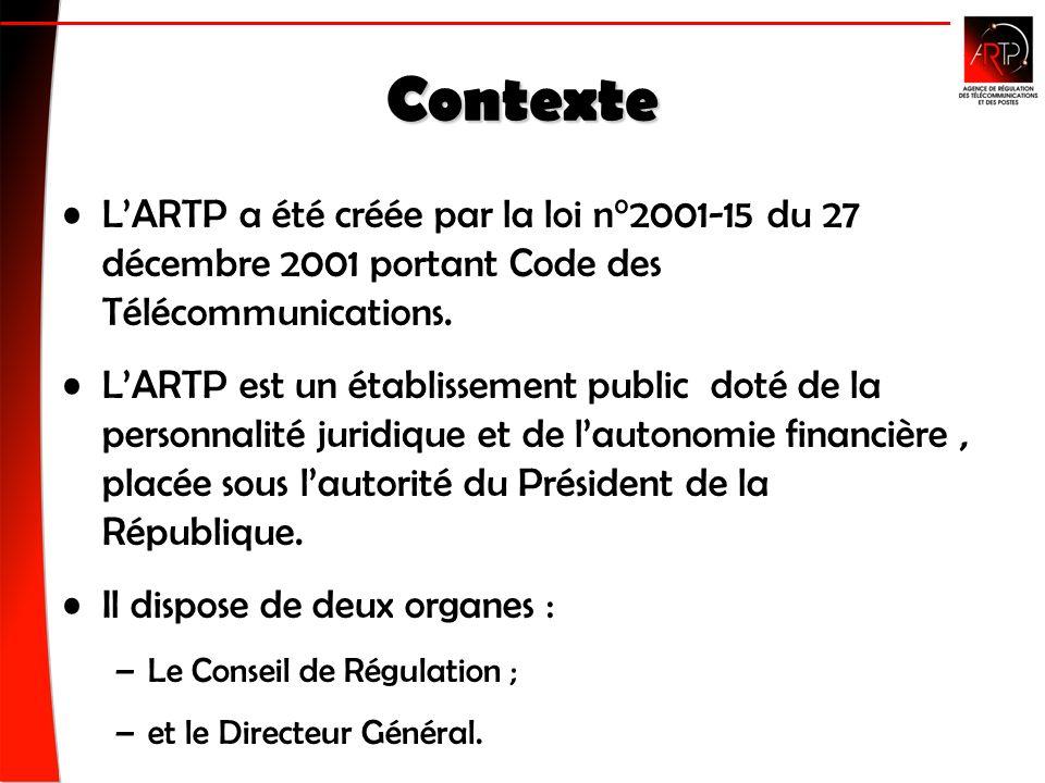 Contexte LARTP a été créée par la loi n°2001-15 du 27 décembre 2001 portant Code des Télécommunications.