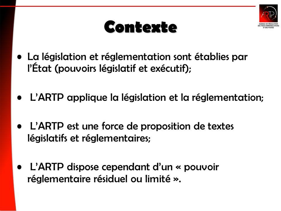 Contexte La législation et réglementation sont établies par lÉtat (pouvoirs législatif et exécutif); LARTP applique la législation et la réglementation; LARTP est une force de proposition de textes législatifs et réglementaires; LARTP dispose cependant dun « pouvoir réglementaire résiduel ou limité ».