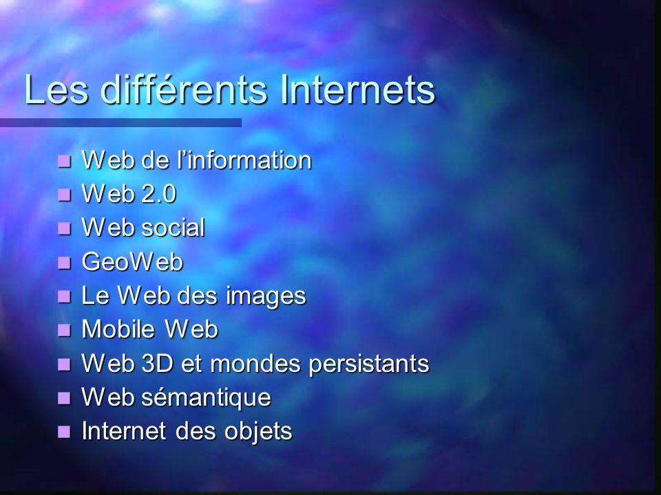 Les différents Internets Web de linformation Web de linformation Web 2.0 Web 2.0 Web social Web social GeoWeb GeoWeb Le Web des images Le Web des imag