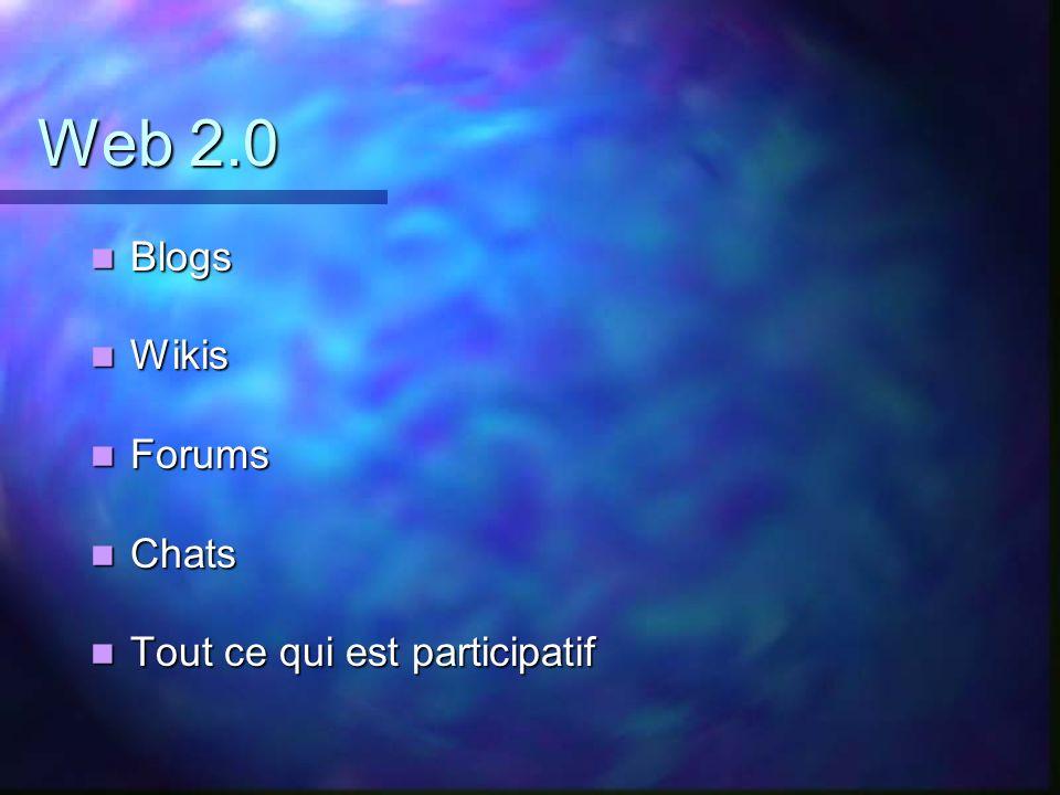 Web 2.0 Blogs Blogs Wikis Wikis Forums Forums Chats Chats Tout ce qui est participatif Tout ce qui est participatif