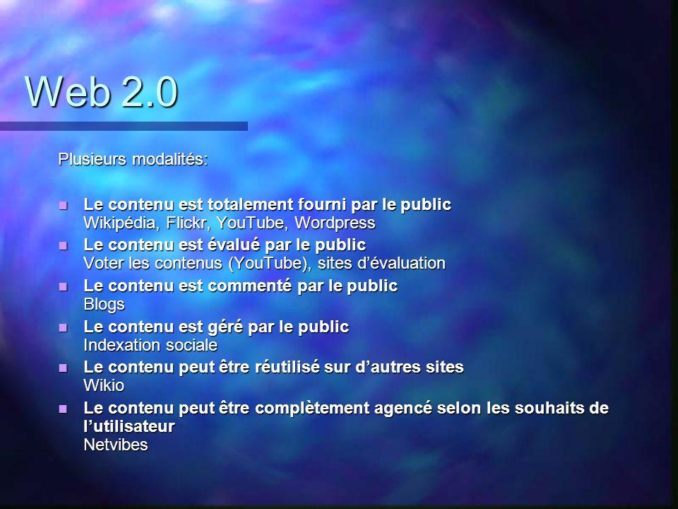 Web 2.0 Plusieurs modalités: Le contenu est totalement fourni par le public Wikipédia, Flickr, YouTube, Wordpress Le contenu est totalement fourni par