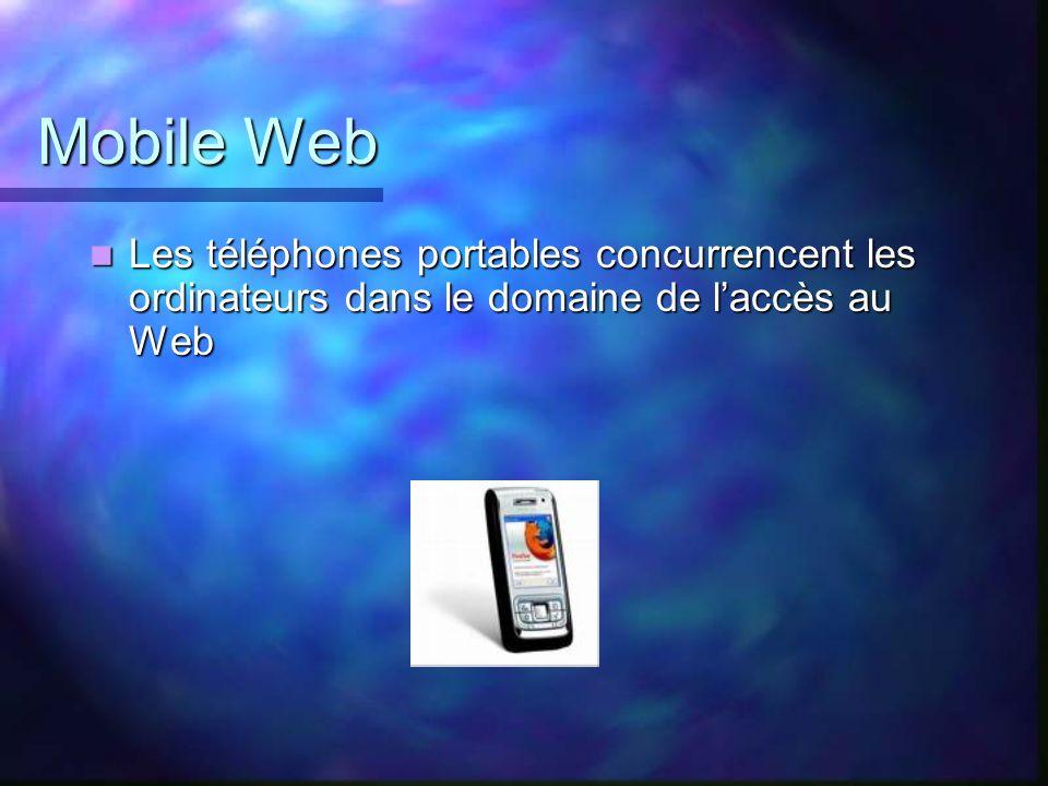 Mobile Web Les téléphones portables concurrencent les ordinateurs dans le domaine de laccès au Web Les téléphones portables concurrencent les ordinate
